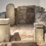"""The """"Holy of Holies"""" of the Biblical Temple in Tel Arad rebuilt and displayed at the Israel museum in Jerusalen. Photo by Laura Lachman. Courtesy of the Israel Museum and the Israel Antiquities Authority."""